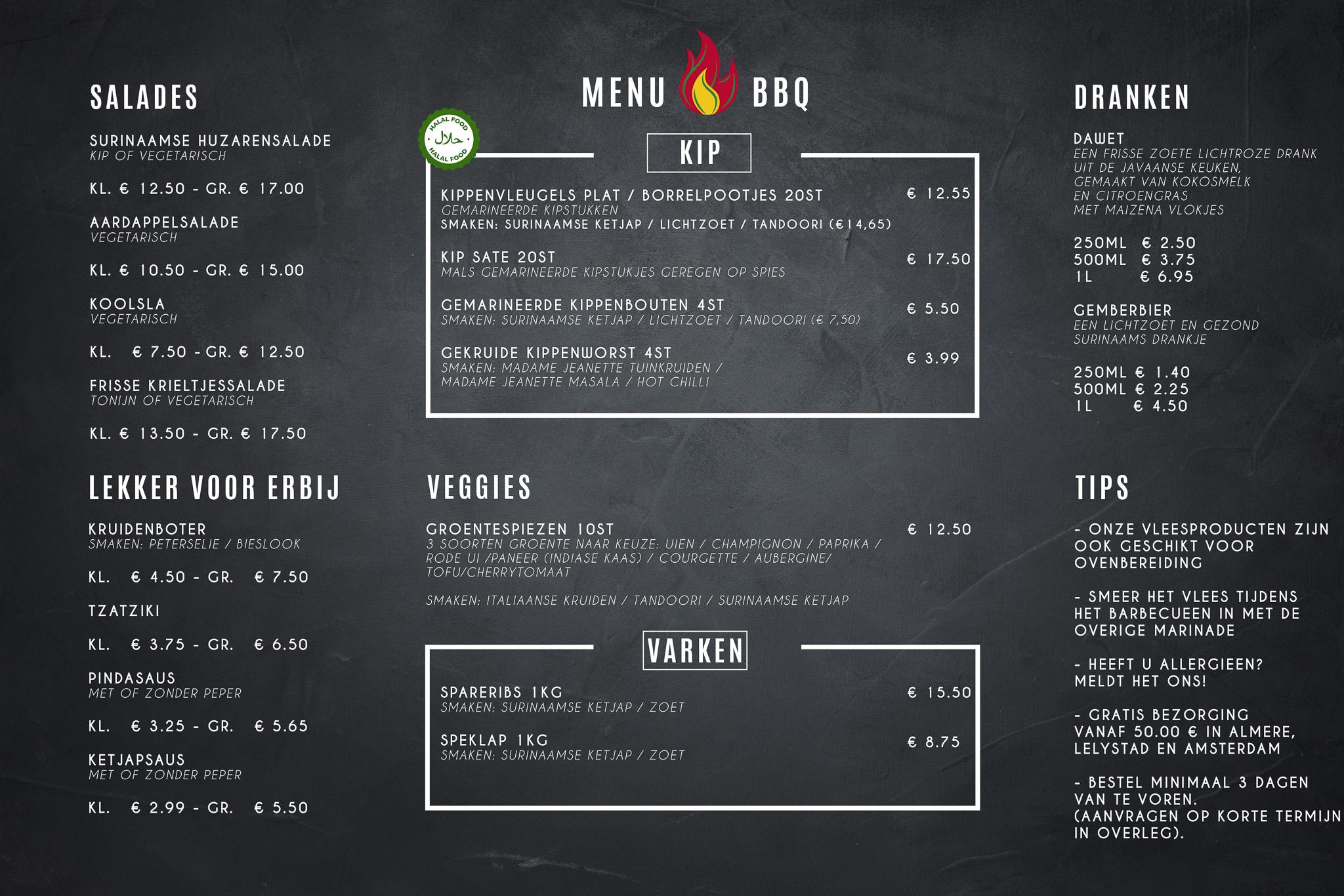 MissMarinade menu
